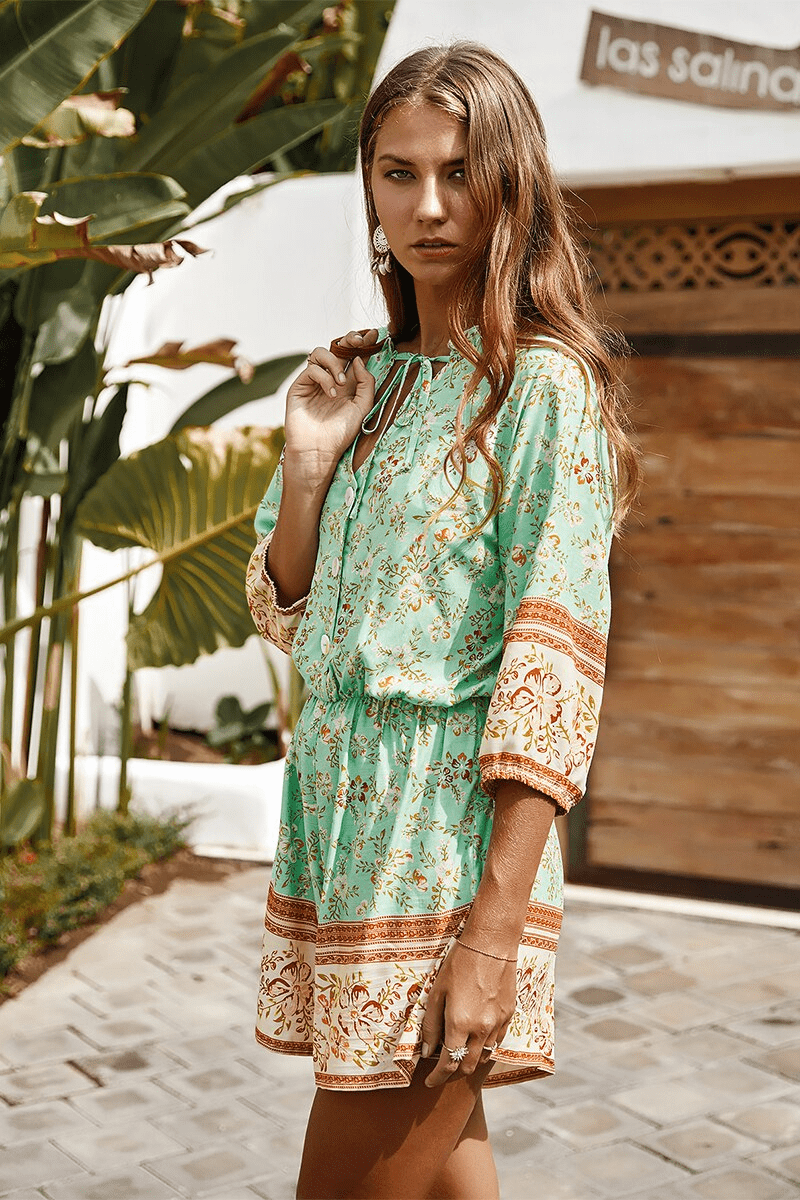 CASUAL FLORAL PRINT BOHO 3/4 SLEEVE TIE NECK BUTTON ROMPER | SRIMOYEE FASHION WORLD