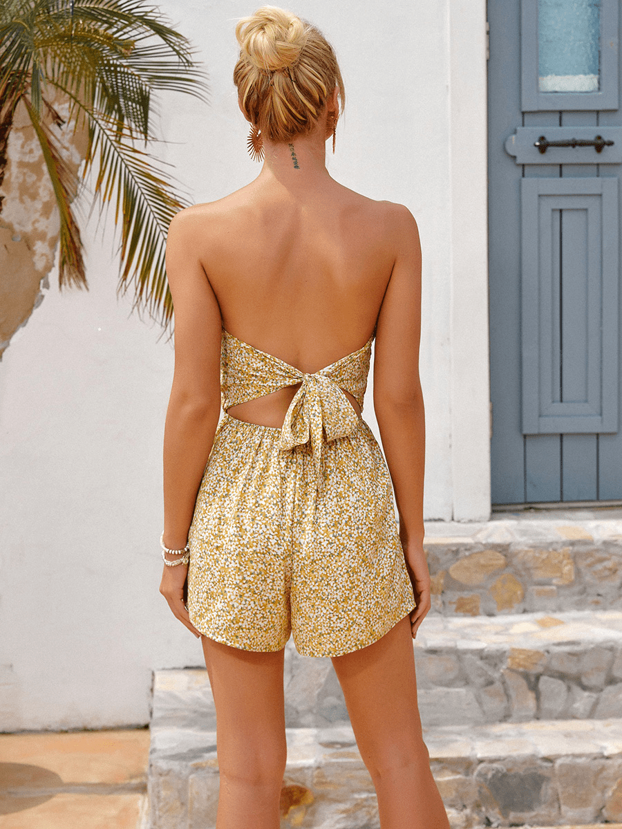 Floral Print Twist Front Strapless Boho Rompers Shorts
