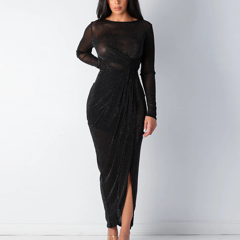 Glamaker Backless lurex long sleeve sexy dress women 2020 pleated black party bodycon dress elegant maxi ladies vintage dress