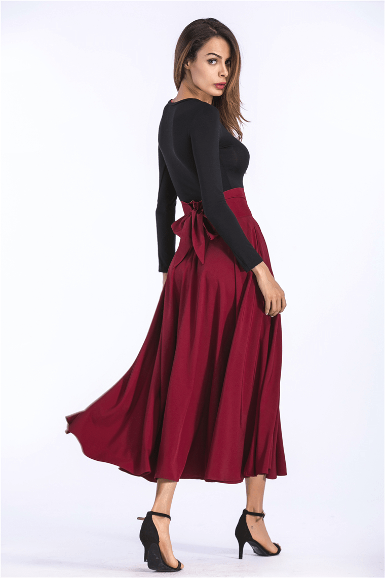 Flared Pockets Lace Up Bow Plus Size Skirt