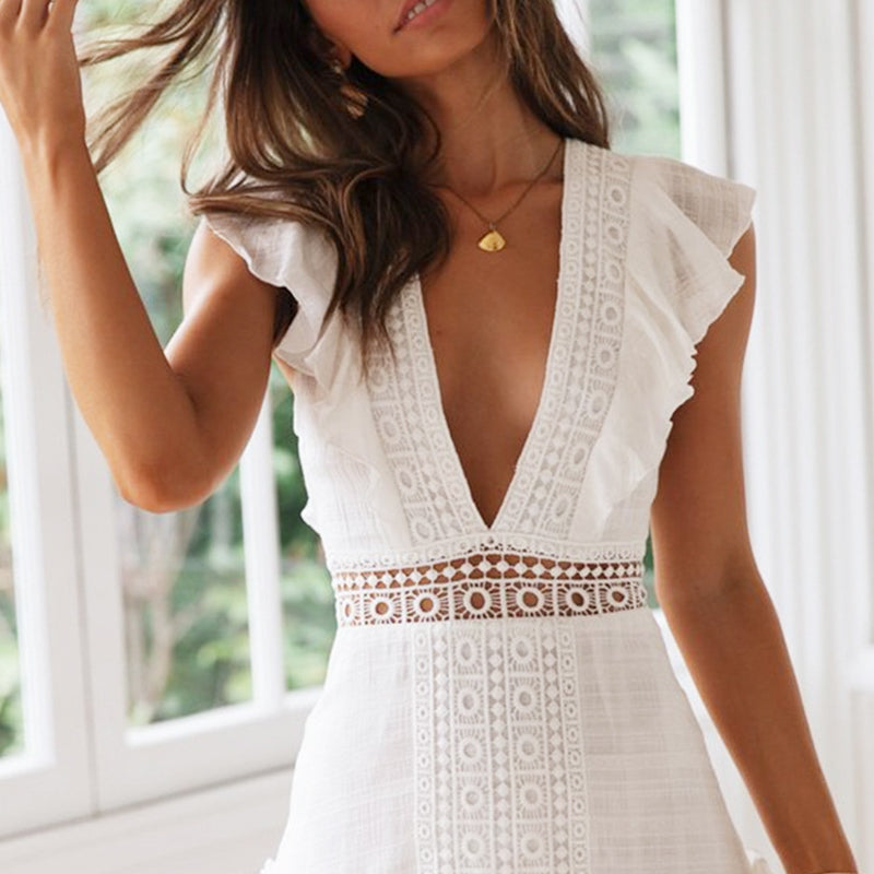 Conmoto Elegant White Embroidery Women Short Dress 2019 Summer Fashion Sexy Deep V Lace up Hollow Out Dress Holiday Vestidos