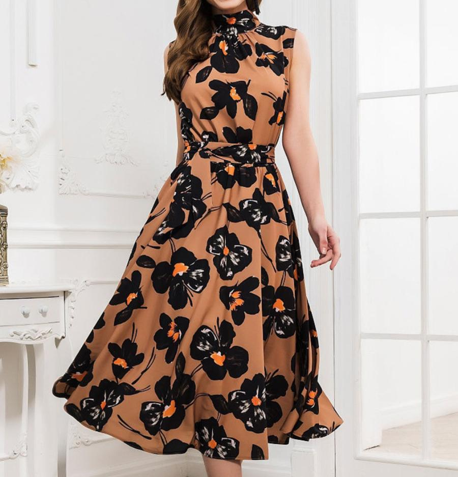 Elegant Floral Print Turtleneck Sleeveless A-line Dress