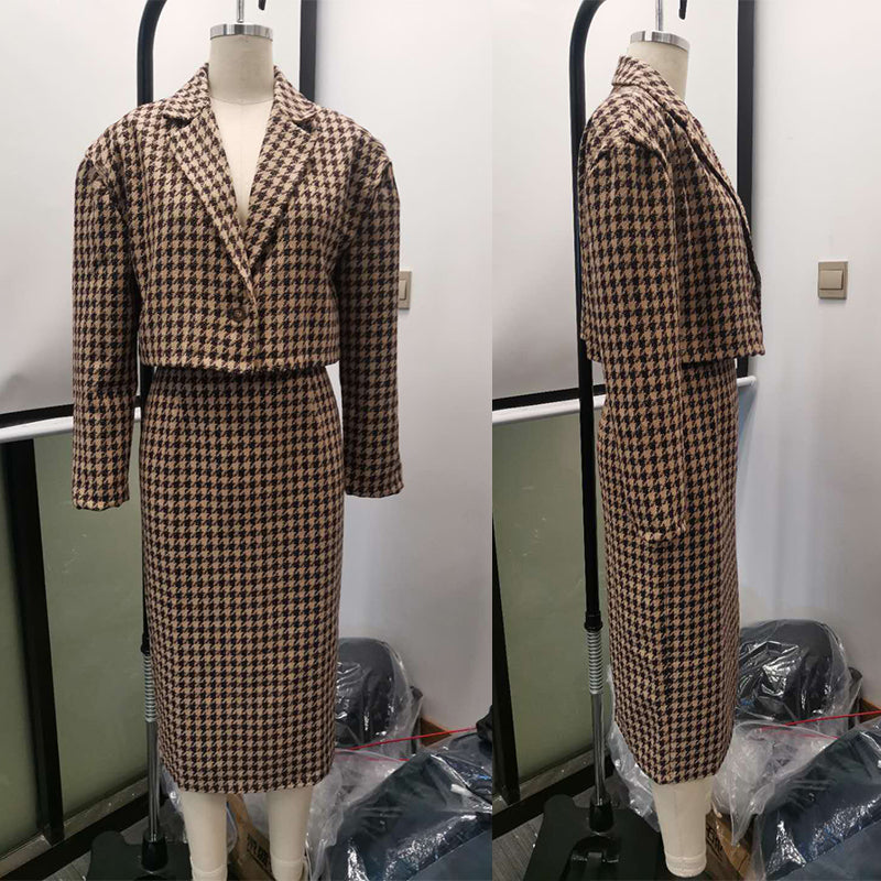 Elegant houndstooth fitted skirt suits Two-piece casual plaid women skirt A-line woollen coat suits ladies autumnn 2020