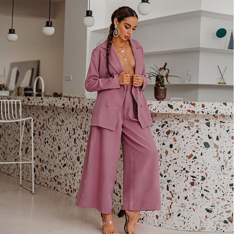 Glamaker Fuchsia 2 piece suits blazer and wide pants Office ladies elegant oversize Female sets 2020 new party pocket jumpsuit