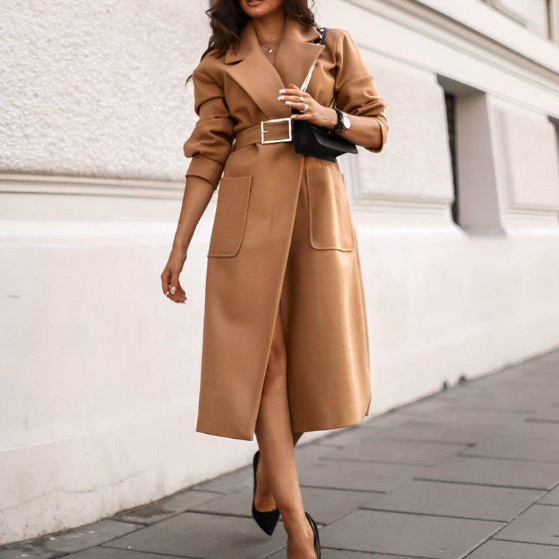 Office lady camel autumn winter female wool coat High street fashion long sleeve coat Elegant pocket outwear with belt
