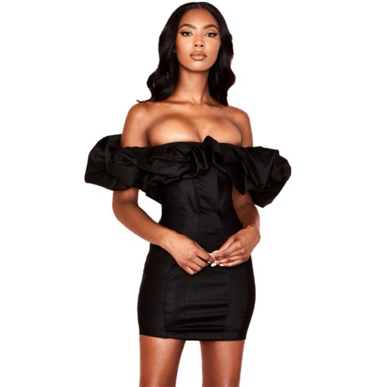Glamaker Ruffle off shoulder club sexy dress women bodycon black autumn dress Elegant short mini party dress vestidos de fiesta