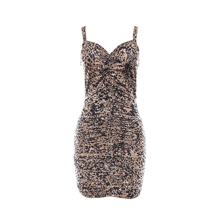 Glamaker Leopard print sexy bodycon mini women dress Summer sleeveless spring short dress Elegant pleated beach party club dress