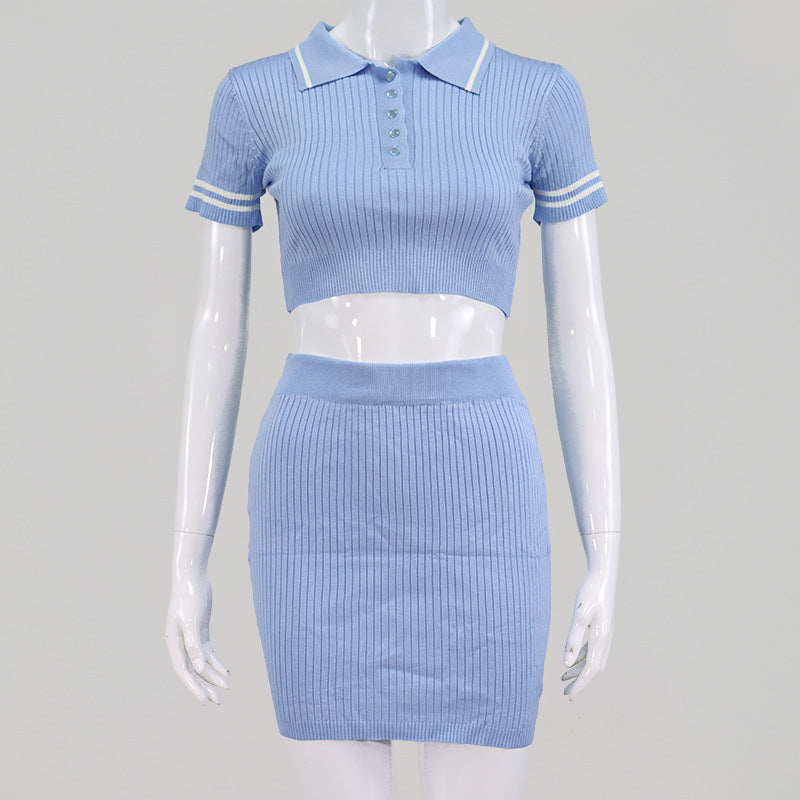 Glamaker Blue knitted summer ladies dress Women crop short sleeve bodycon dress mini Sexy fashion high waist sport dress 2020