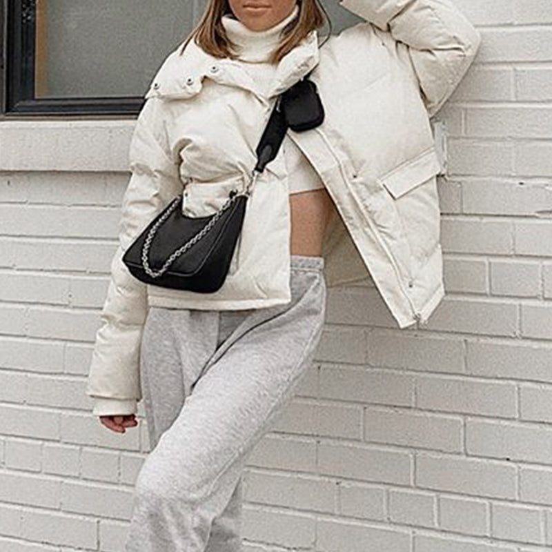 Simplee Causal warm white autumn winter women jacket Elegant pocket long sleeve female parkas High street fashion outwear 2020