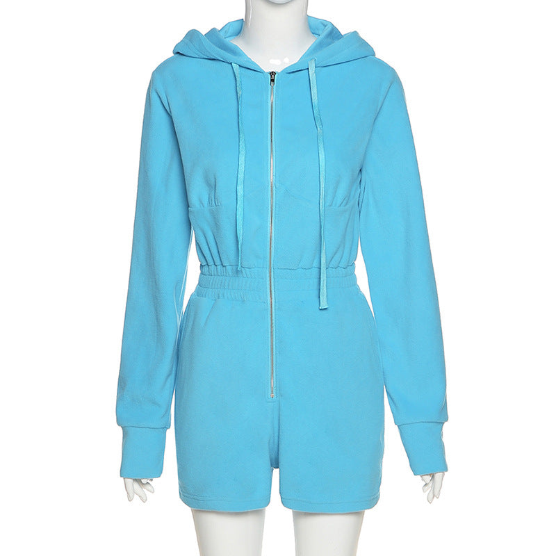 Glamaker Fashion casual hooded romper Blue winter zipper autumn short jumpsuit Women gray chic 2020 new style short playsuit