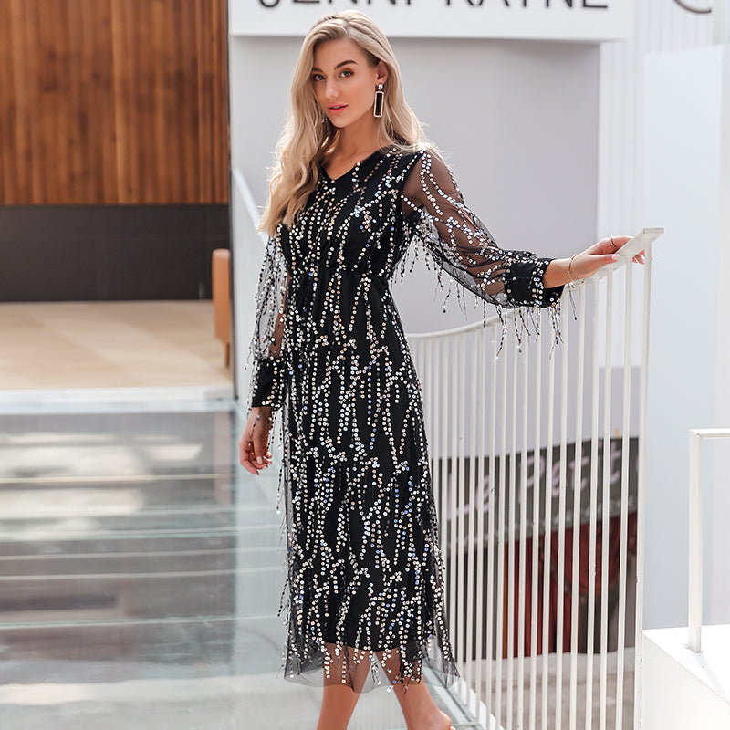 Simplee sexy v-neck evening maxi dress female elegant mesh long sleeve sequins evening dress autumn lady plus size party dress