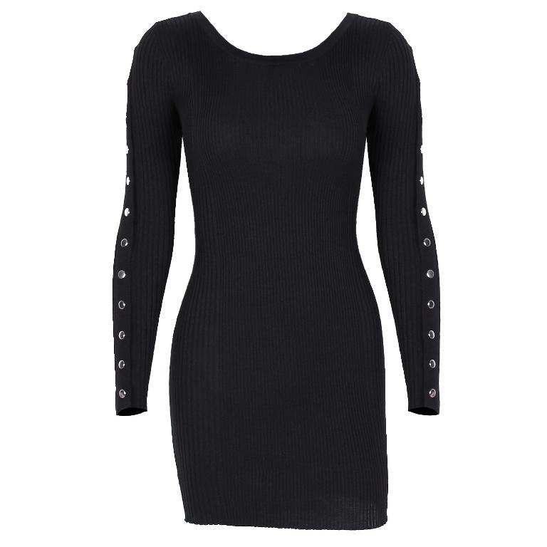 Sexy tight women's knitted dress Round neck slim pin dress Nightclub Long Sleeve Black Dress autumn winter 2020 new