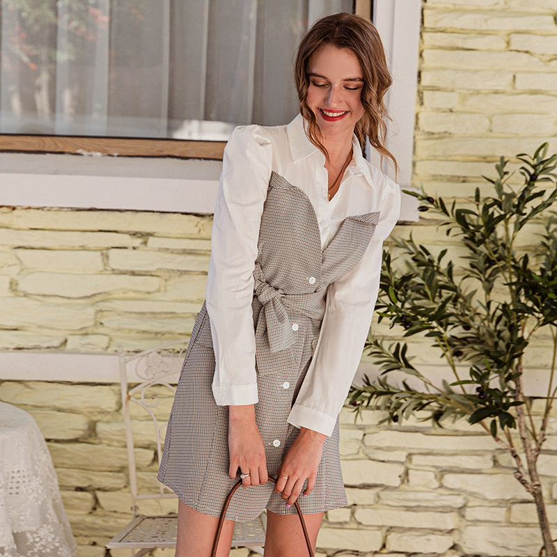 Simplee Chic white plaid split joint slim women dress A-line turndown collar belt mini dress Office autumn short dress ladies