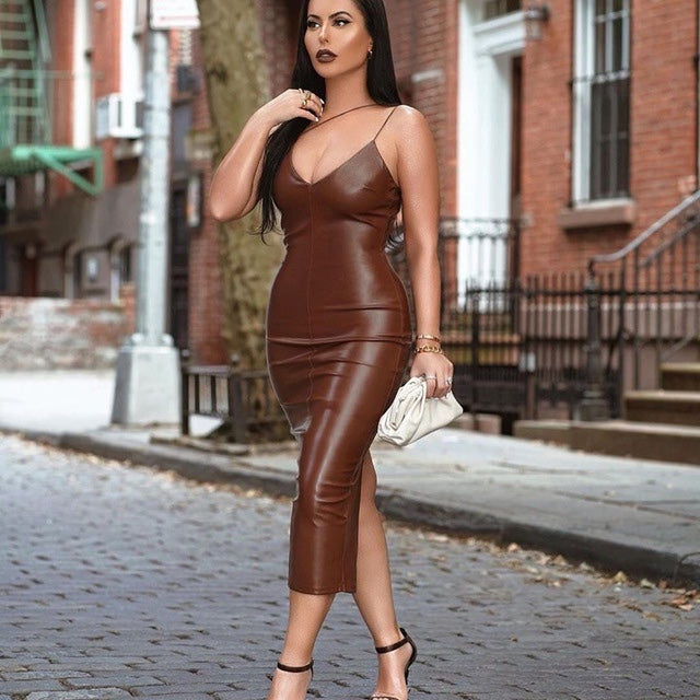 Summer Brown Pu Leather Dress Women Sexy Spaghetti Straps V-Neck Backless Midi Bodyocn Party Club Long Dress 2020 New