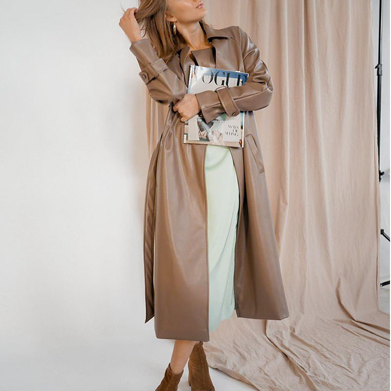 Simplee Streetwear PU brown long coats women Leather autumn winter sashes wind coat Notched office ladies pocket outwear 2020
