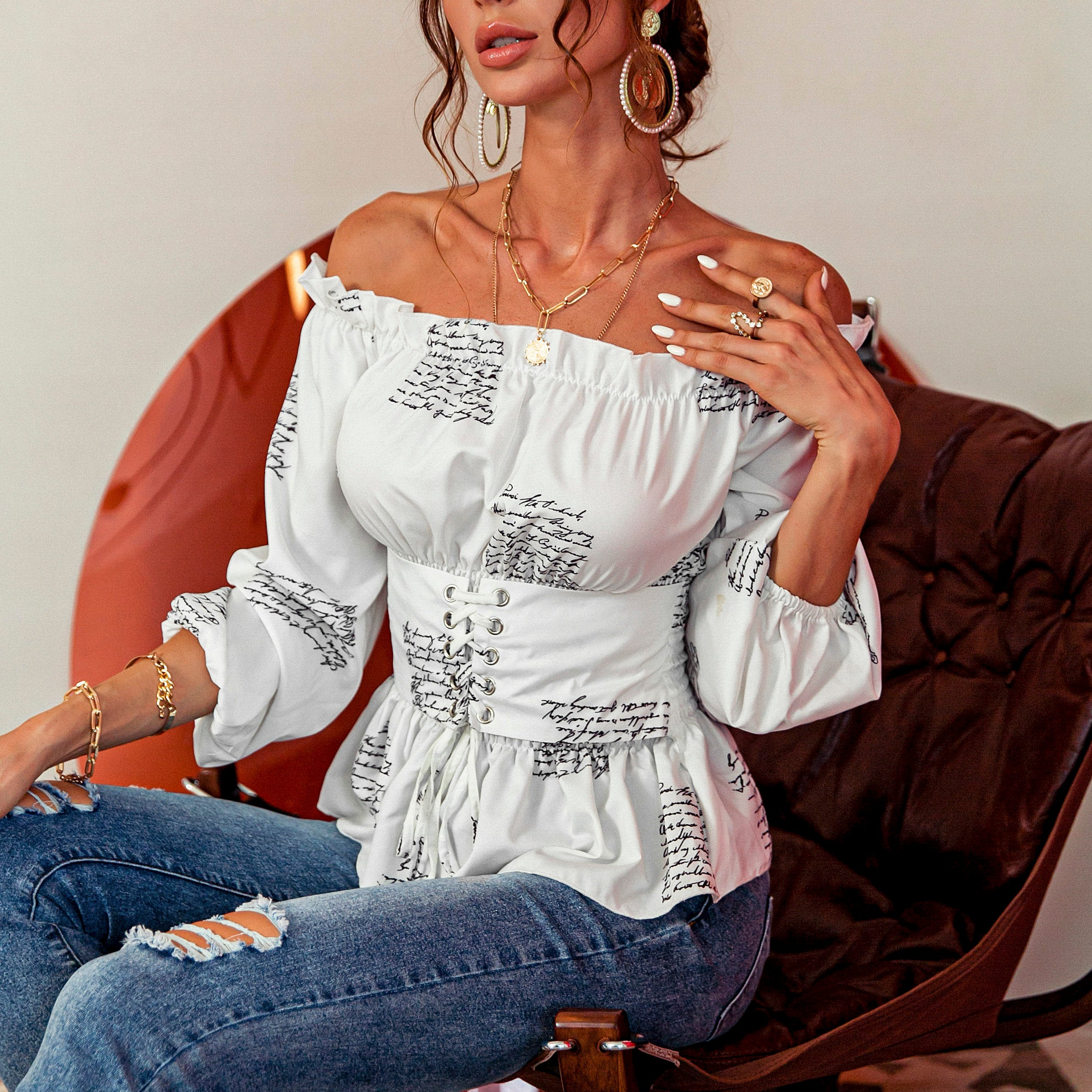Glamaker Off shoulder white blouses women fashion casual blouse sexy  letter tops