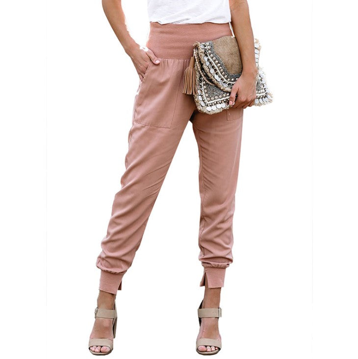 Fashion women casual pant Autumn high waist ruffled trousers Chic streetwear ladies work pants 2020