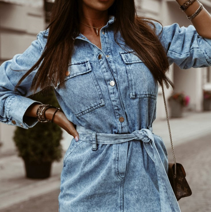Denim dress women Elegant sashes short blue jeans dresses Casual holiday ladies