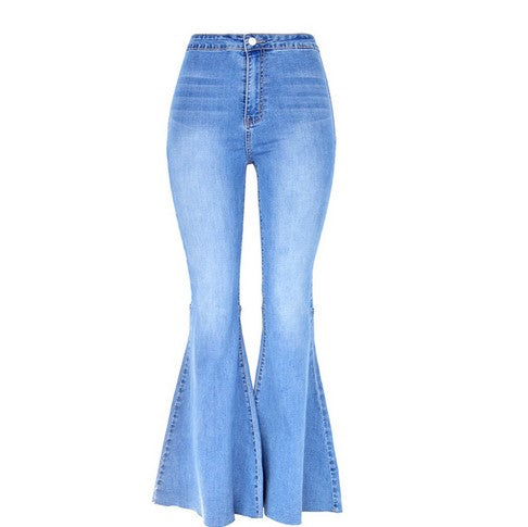 Women's retro high waist stretch wash thin wide leg pants big flared denim trousers
