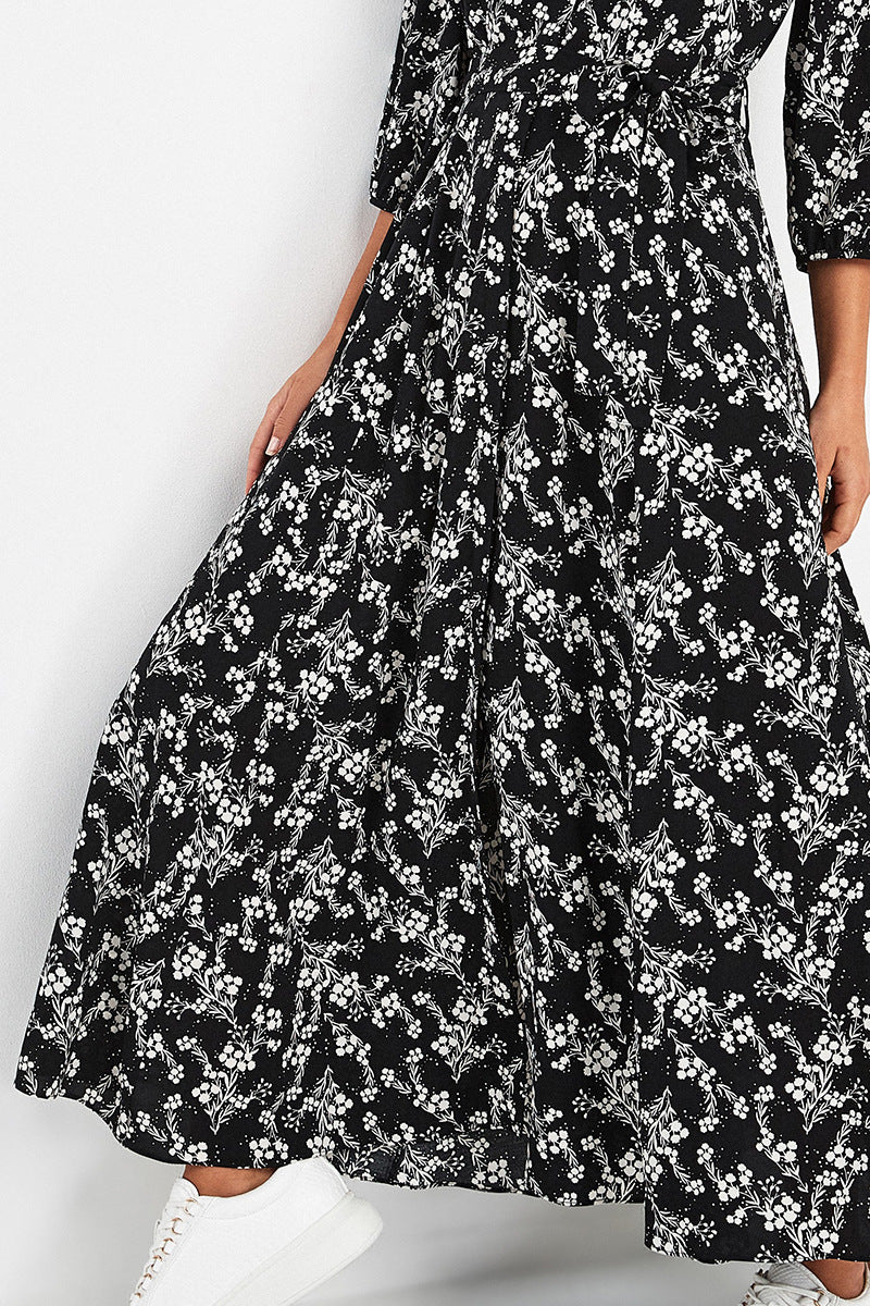 Plus size women's floral V-neck chiffon skirt ethnic beach holiday long skirt