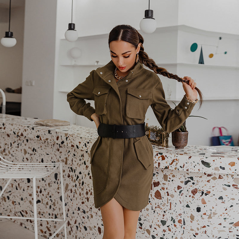 Elegant solid color long sleeve mini dress Stand-up collar pocket office ledies dress Sexy belt straight dress 2020 new