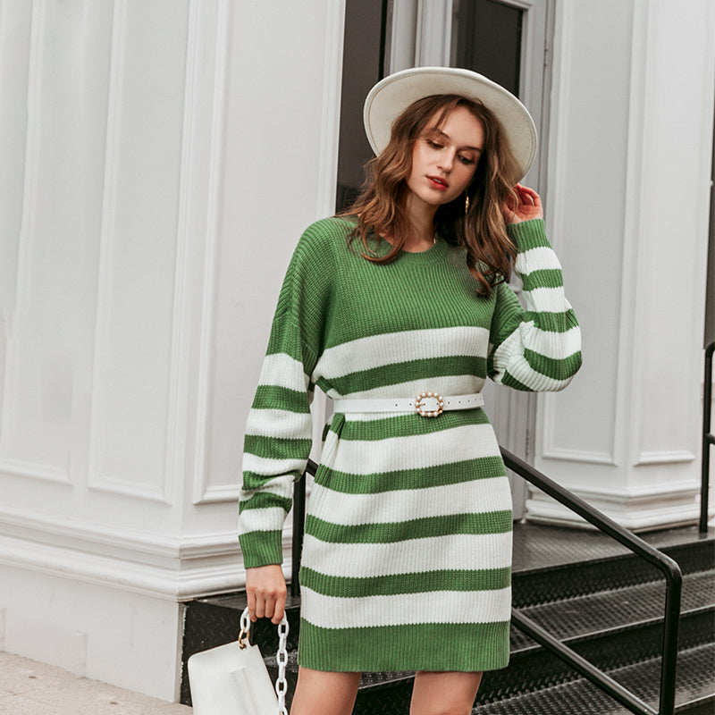Women's sweater knit pullover Autumn/winter O-neck sweater Women stripe casual women's knitted skirt 2020