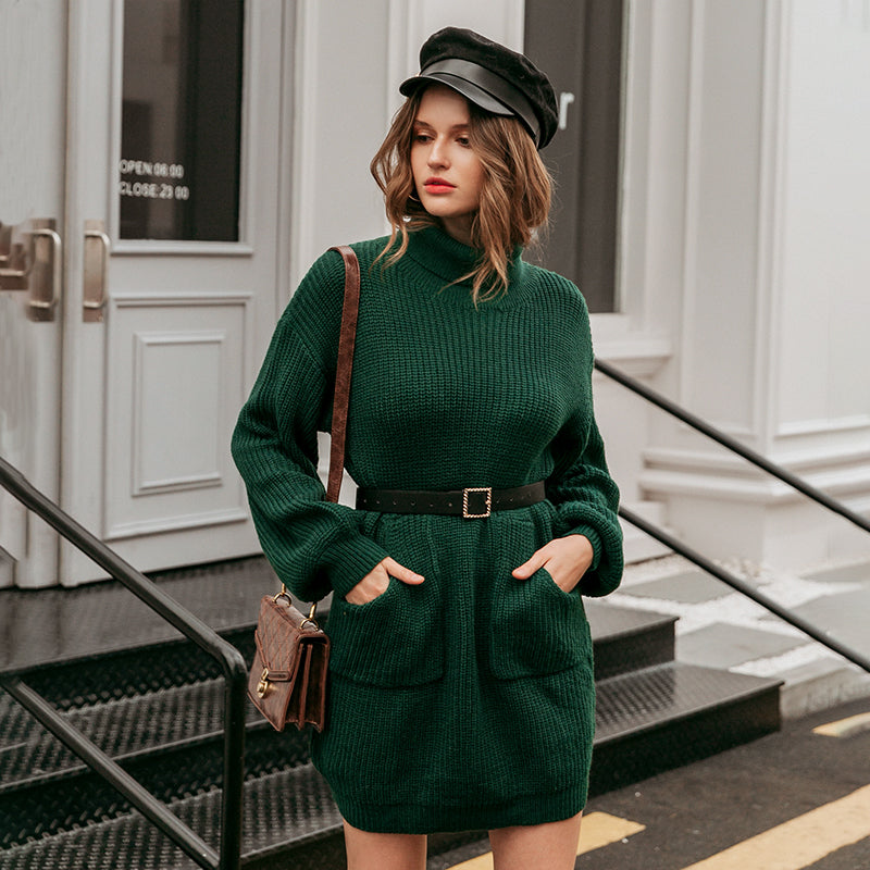 Casual turtleneck women sweater dress Autumn winter knitted dress with pockets lantern sleeve female sweater dress 2020