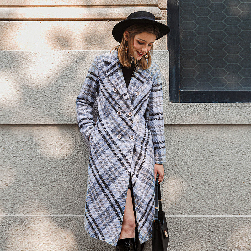 Long autumn Lapel plaid woolen coat Office lady button overcoat women Long sleeve elegant belt autumn and winter coat