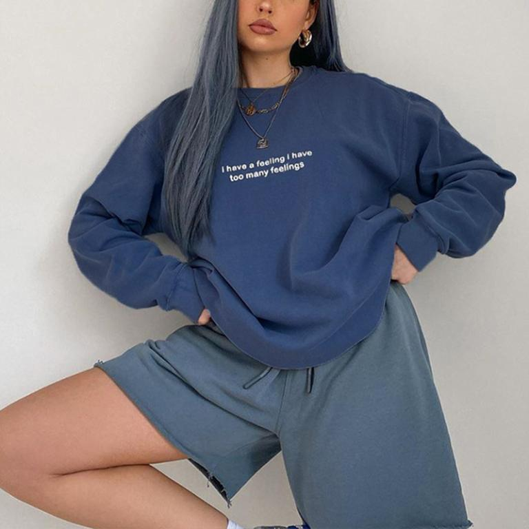 Glamaker Letter pring long sleeve sweatshirt women Streetwear vintage loose blue winter autumn sweatshirt top Fashion 2020 new