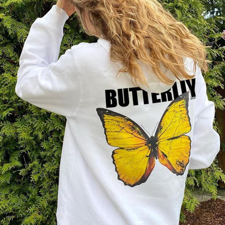 Glamaker Fashion butterfly print long sleeve hooded sweatshirt streetwear casual sweatshirt Winter autumn chic white hooded top