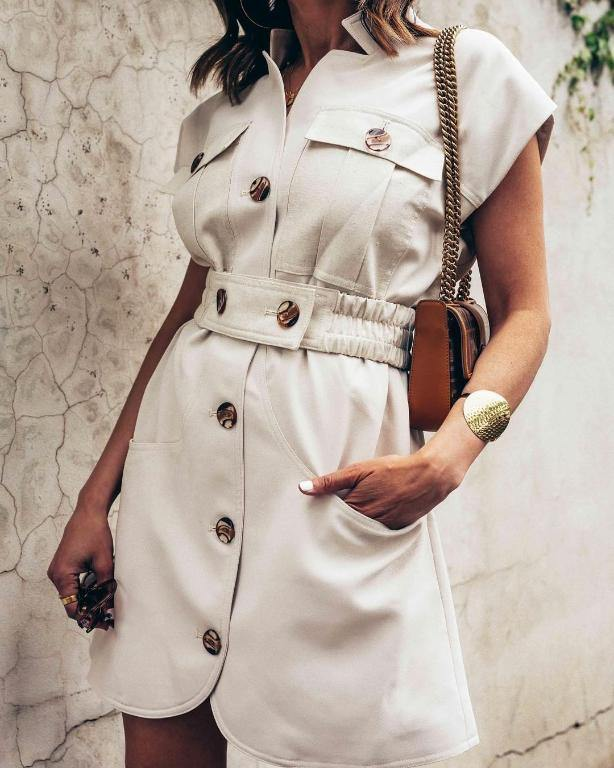 2020 Spring Summer Sleeveless Single Breasted Sashes Pocket Dress Trendy Design Pockets Ladies Fashion Outfit | SRIMOYEE FASHION WORLD®