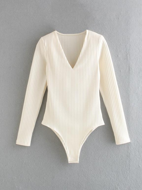 Simplee Sexy V-neck women's Jumpsuit Beige stripe slim fit comfortable knitted triangle one piece casual home fashion clothes