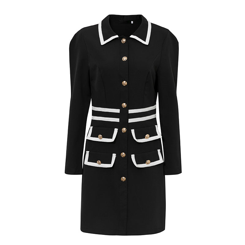 Glamaker Black office ladies vintage dress women long sleeve autumn sexy short dress elegant 2020 party club mini dress retro