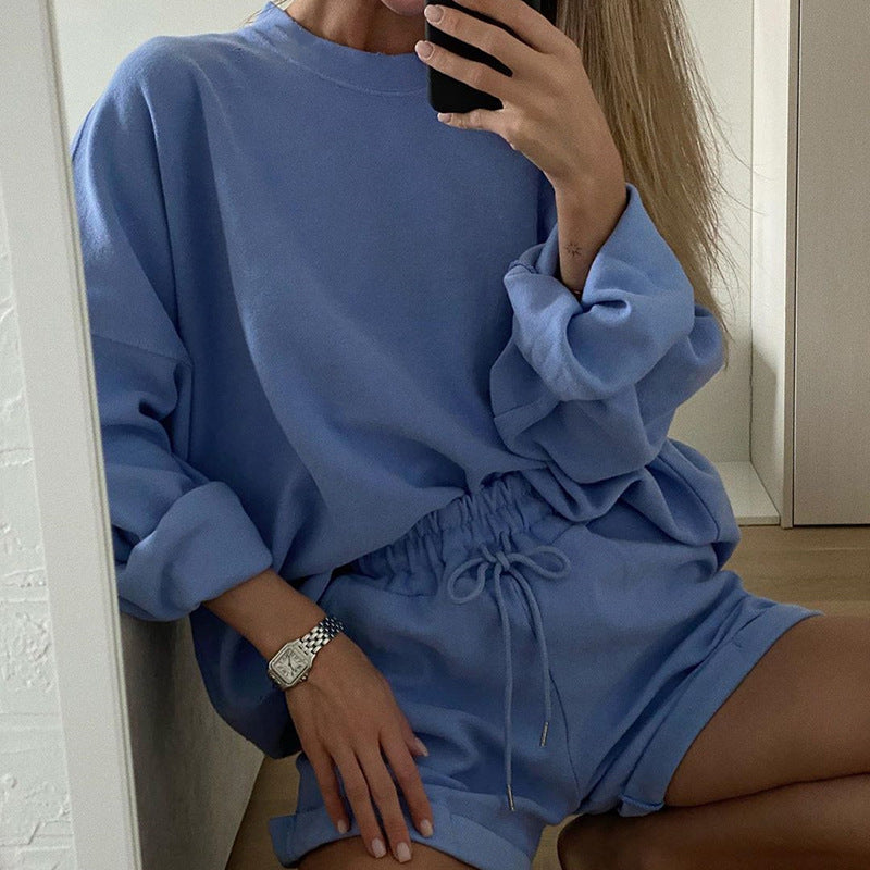 Glamaker Blue long sleeve suit sets women casual two piece top and shorts set 2020 fashion female solid streetwear co ord set