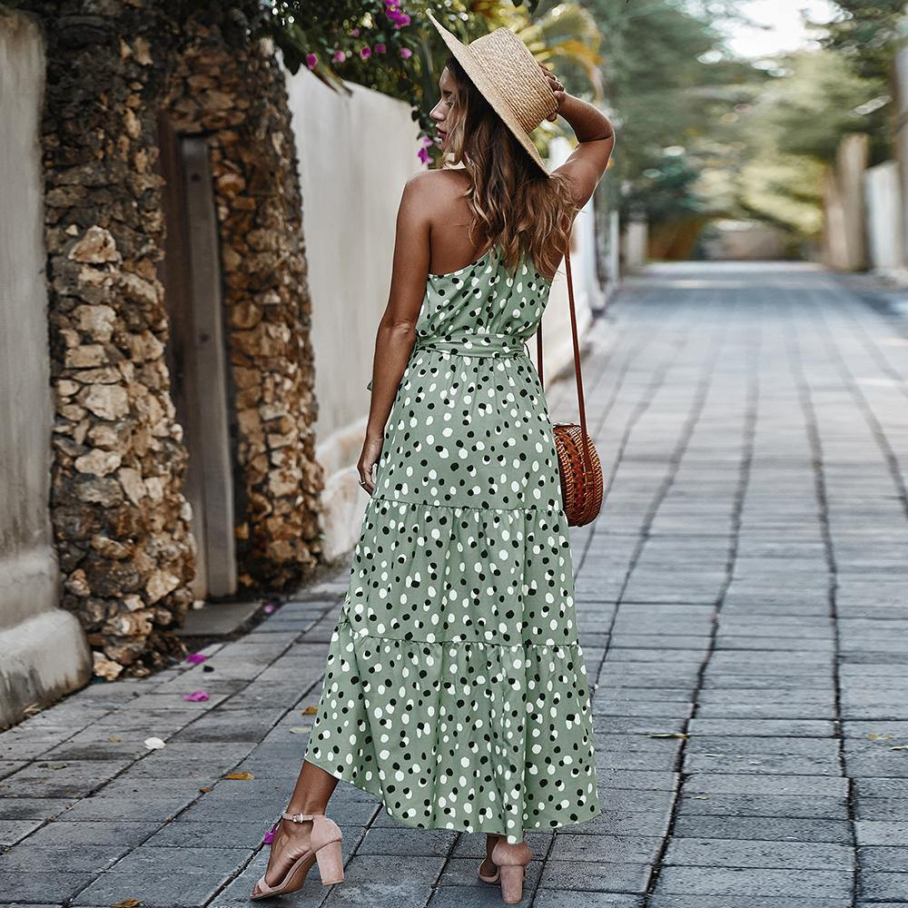 2020 summer polka dot holiday style big swing dress women fashion boho sexy dresses | SRIMOYEE FASHION WORLD®