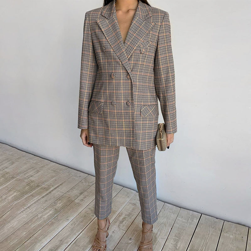 Simplee Office ladies plaid blazer suit Double breasted pockets female blazer pants set Streetwear elegant women blazer set