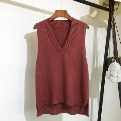Casual solid color knitted sweater 20 color comfortable V-neck sleeveless Pullover everyday Versatile autumn sweater