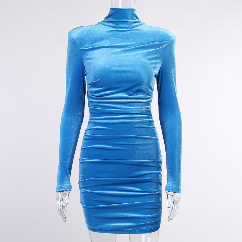 Simplee Sexy blue autumn women velvet bodycon Long sleeve high neck shoulder pads mini dress Female high street slim party dress