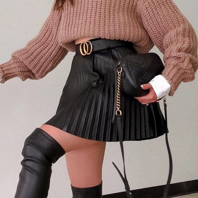 Simplee Fashion black autumn winter women faux short skirt A-line high street sexy mini skirt High waist pleated leather skirt