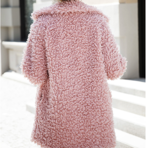 BerryGo Fashion streetwear large sizes  long coat female 2018  Pink casual autumn coat outerwear Warm winter faux fur coat women