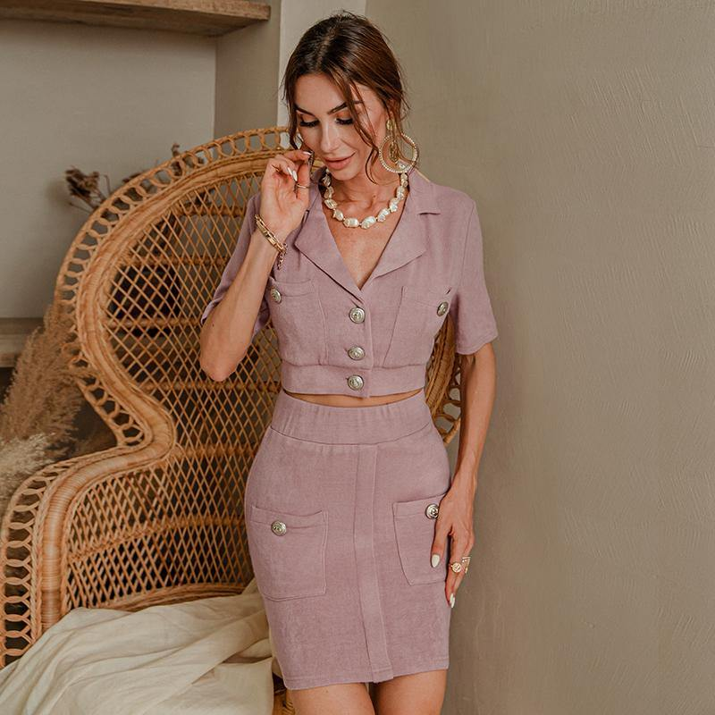 2020 Summer Korean Women's Wear 2 Piece Set Playful Small Suit Shorts Set Notched Single Breasted Crop Top Skirt Pant Suits | SRIMOYEE FASHION WORLD®