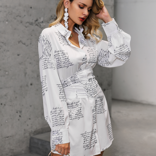 Women's Pineapple Letter Print Bandage Shirt Dress Turn-down Long Sleeve Shirts Autumn Fashion Streetwear Office Ladies Tops