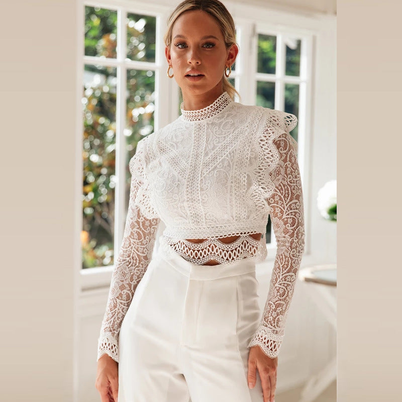 White lace women tops and blouse sexy hollow out mesh crop top elegant long sleeve embriodery blouse tops see through blouse