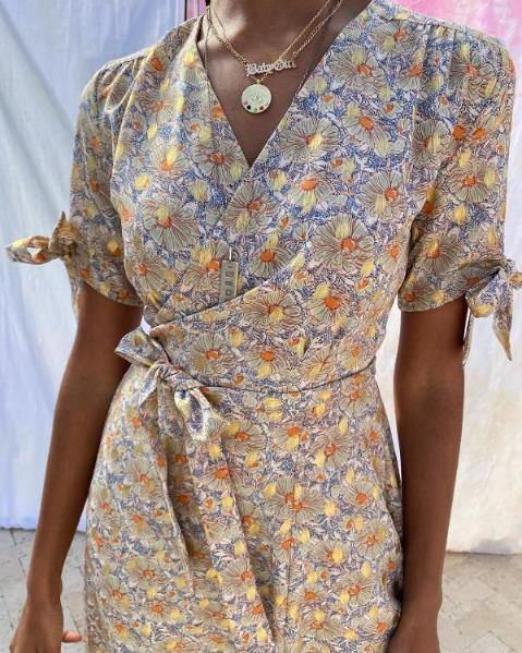 2020 New Women Summer Chiffon Dress Sexy V Neck Lace Patchwork Floral Party Dress Vintage Sashes Slim Midi Pencil Dress Vestidos | SRIMOYEE FASHION WORLD®