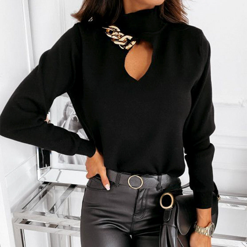 Simplee Sexy winter solid chain high neck sweater women Elegant long sleeves keyhole pullover Fashion soft sweaters high street