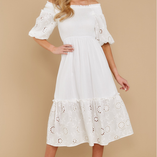 2020 new summer dress small fresh o neck hollow embroidery cotton dress loose short sleeve dress | SRIMOYEE FASHION WORLD®