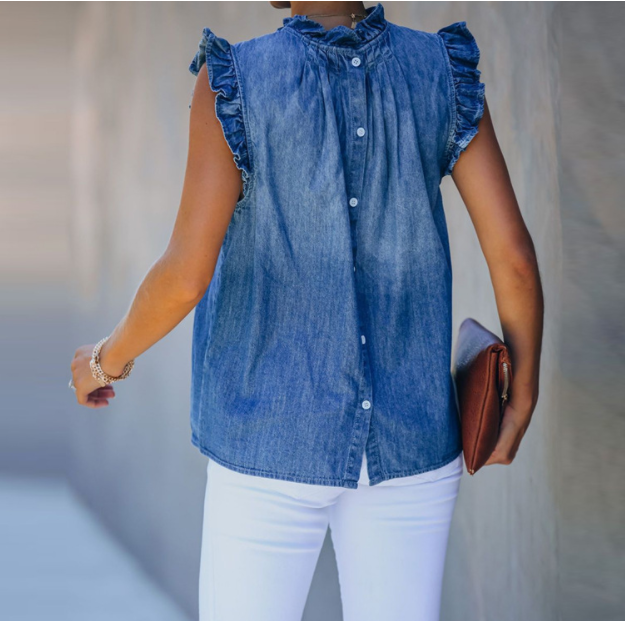 Back Buckle Ruffled Denim Top