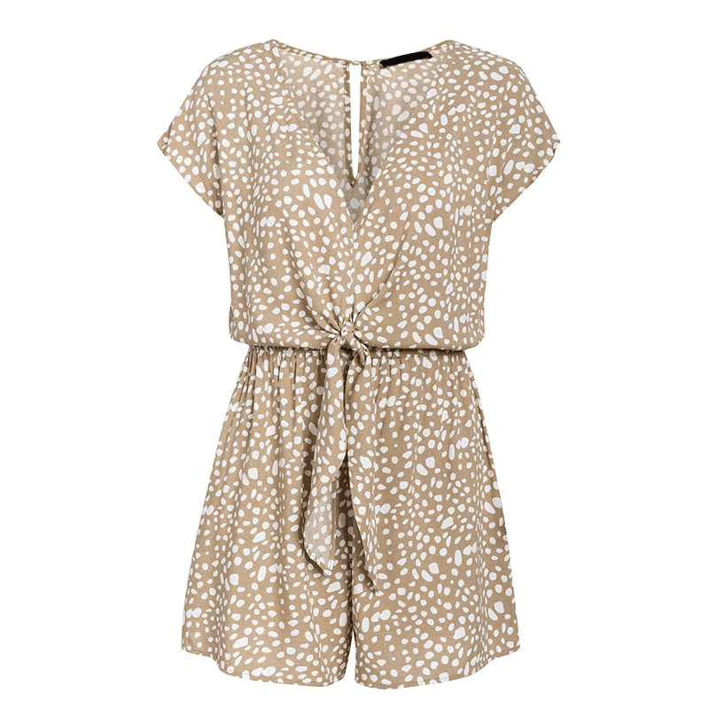 BOW TIE LEOPARD SLEEVELESS WIDE LEG SHORT JUMPSUITS ROMPERS | SRIMOYEE FASHION WORLD
