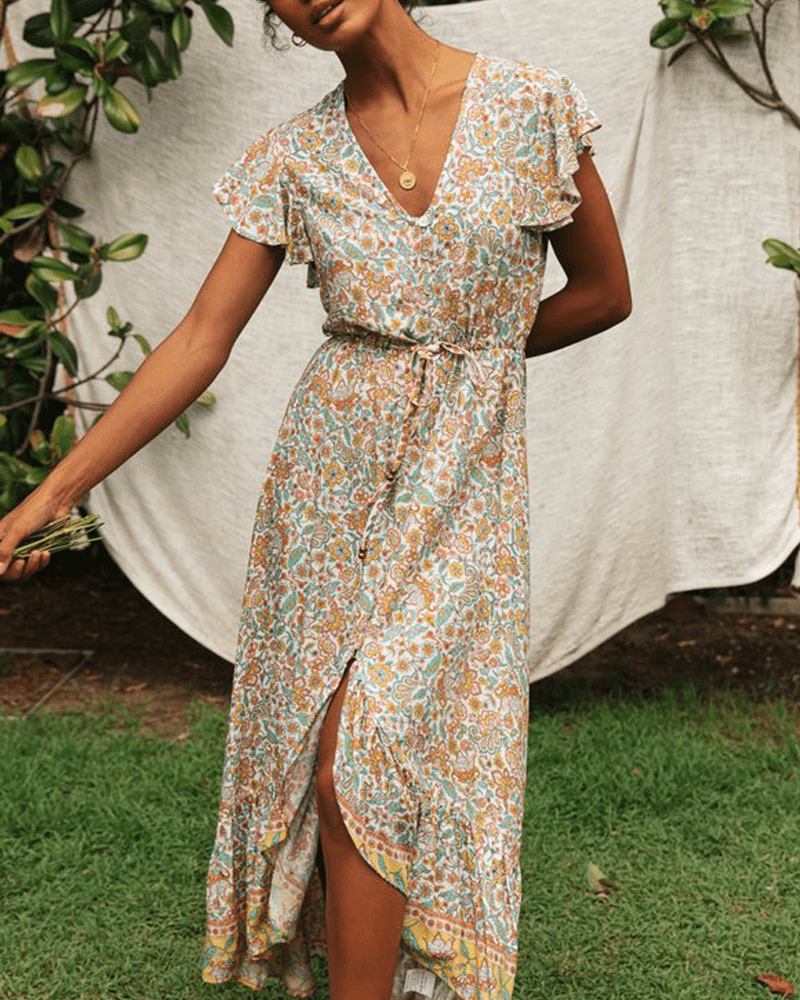 Floral Print Vestidos Irregular Hem Sashes Gypsy Maxi Dress