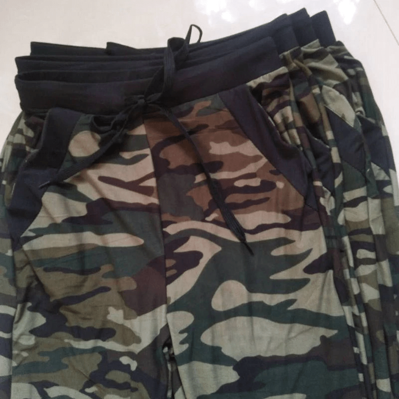 CAMOUFLAGE HIGH WAIST POCKET HAREM CAMO DRAWSTRING PANTS | SRIMOYEE FASHION WORLD